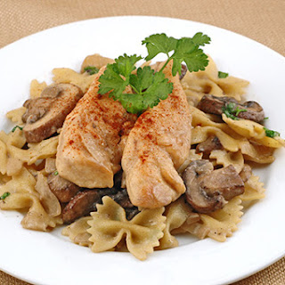 Chicken with Farfalle, Mushrooms and Sherry Cream