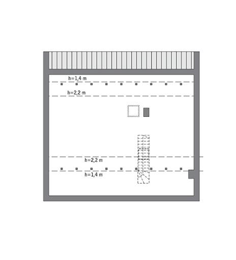 Przejrzysty - wariant IV - C365d - Rzut poddasza do indywidualnej adaptacji (68,1 m2 powierzchni użytkowej)