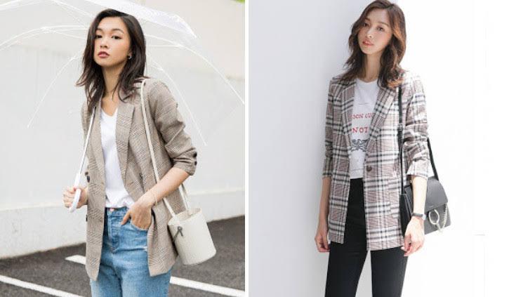 Mẫu áo vest và blazer nữ kẻ caro để tham khảo năm 2018 tại Thời Trang Thủy