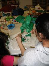 Photo: Students in art class:  Papier Mache.