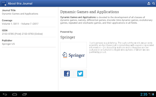 Dynamic Games and Applications- screenshot thumbnail