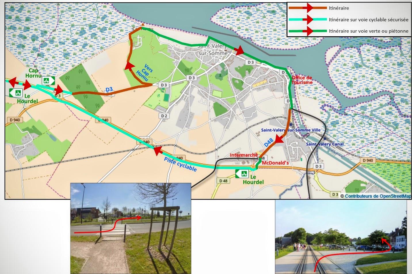 Carte 1 : Cheminement cyclable entre St Valery-sur-Somme et Cayeux-sur-Mer  - Blog Les Balades à vélo autour de La Baie de Somme par veloiledefrance.com