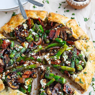 Asparagus and Mushroom Galette with Bacon, Goat Cheese and Balsamic Reduction.