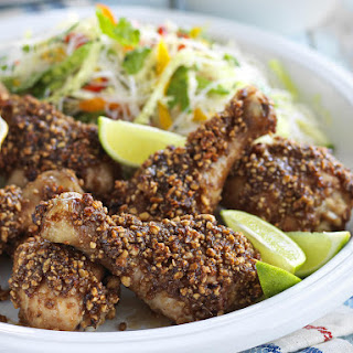 Chicken Satay Drumsticks with Noodle Salad.