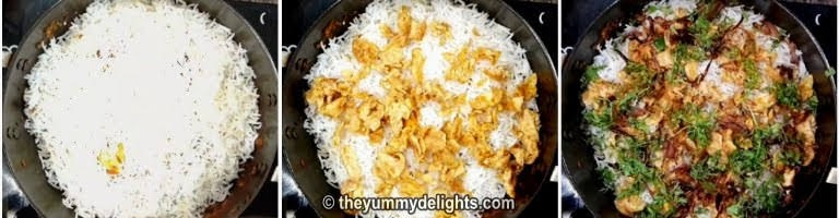 layering the basmati rice for making egg biryani recipe