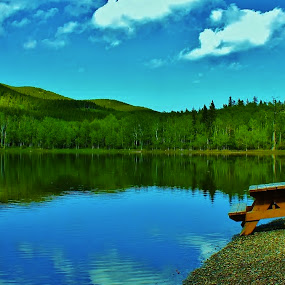 Kids Camp by Laura Bentley - Landscapes Mountains & Hills ( water, provincial park, camp, reflection, alberta, canada, lake, spring )