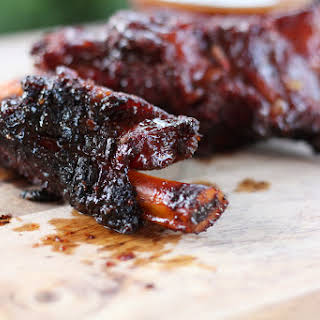 Smoky Beef Ribs with Sriracha BBQ Beer Sauce.