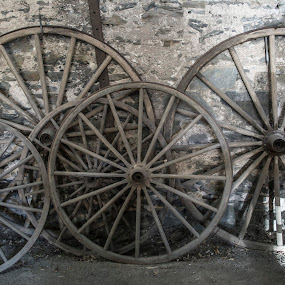 Times Rolling By by Sharon Wills - Artistic Objects Antiques ( history, south australia, angastan blacksmith museum, tools, wheels, barossa valley, antique, spokes,  )