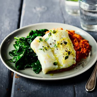 Herb & Garlic Baked Cod with Romesco Sauce & Spinach Recipe