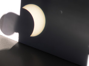 Photo: Left dark circle is left binocular shadow (open to the sun), cardboard shield is the black area in center and right.  Pinhole projected image also shows on right