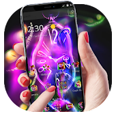 Neon Purple Clock Monster Theme Android APK Download Free By Abby Theme Center