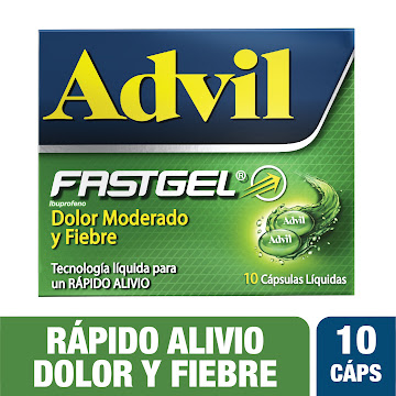 //ADVIL FASTGEL Tabletas   Caja x10Tab. PFIZER Ibuprofeno