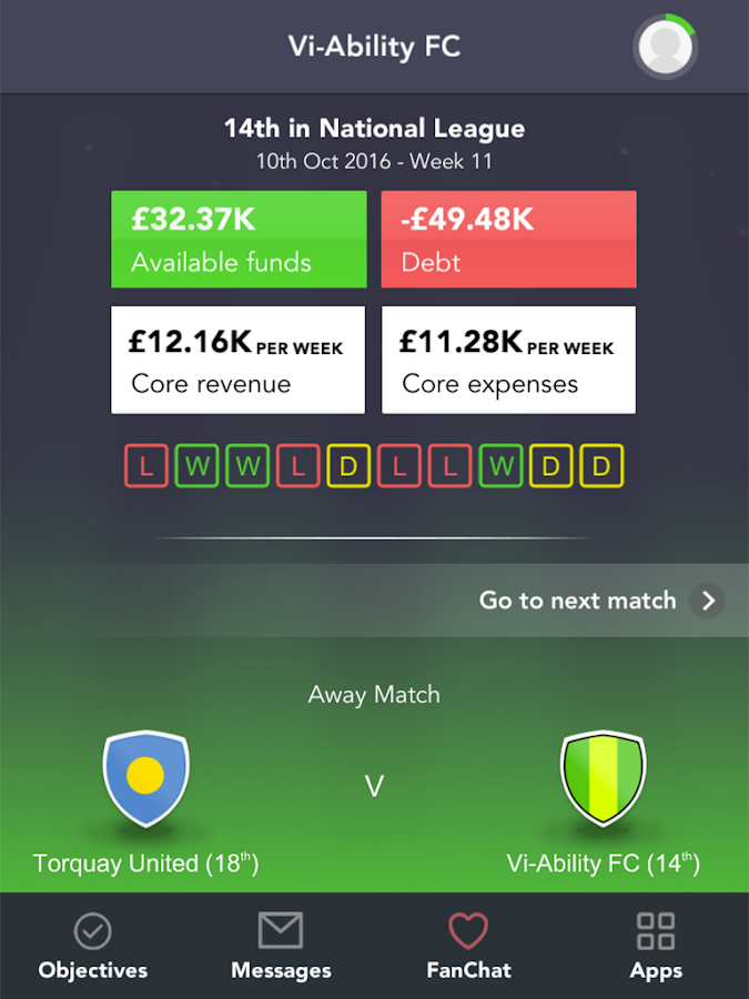 Football CEO Challenge- screenshot
