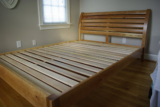 Photo: The same cherry bed.  The owners of the bed will put a queen mattress on top of the horizontal slats.  No box spring!