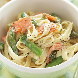 Smoked Trout and Asparagus Fettuccine