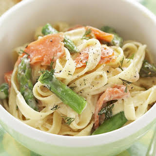 Smoked Trout and Asparagus Fettuccine.