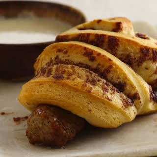 Cinnamon Roll-Wrapped Sausage with Maple Dipping Sauce.