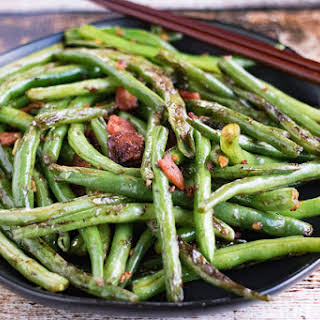 Chinese Dry Fried Green Beans with Bacon.