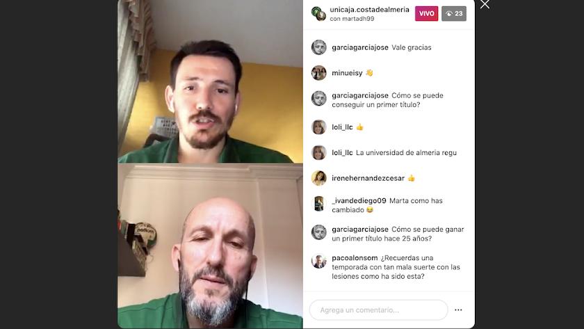 El directo de Instagram de Unicaja Costa de Almería.