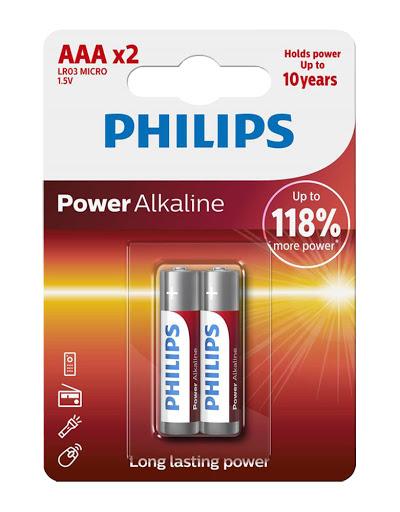 bateria philips power alkaline aaa 2und Phillips