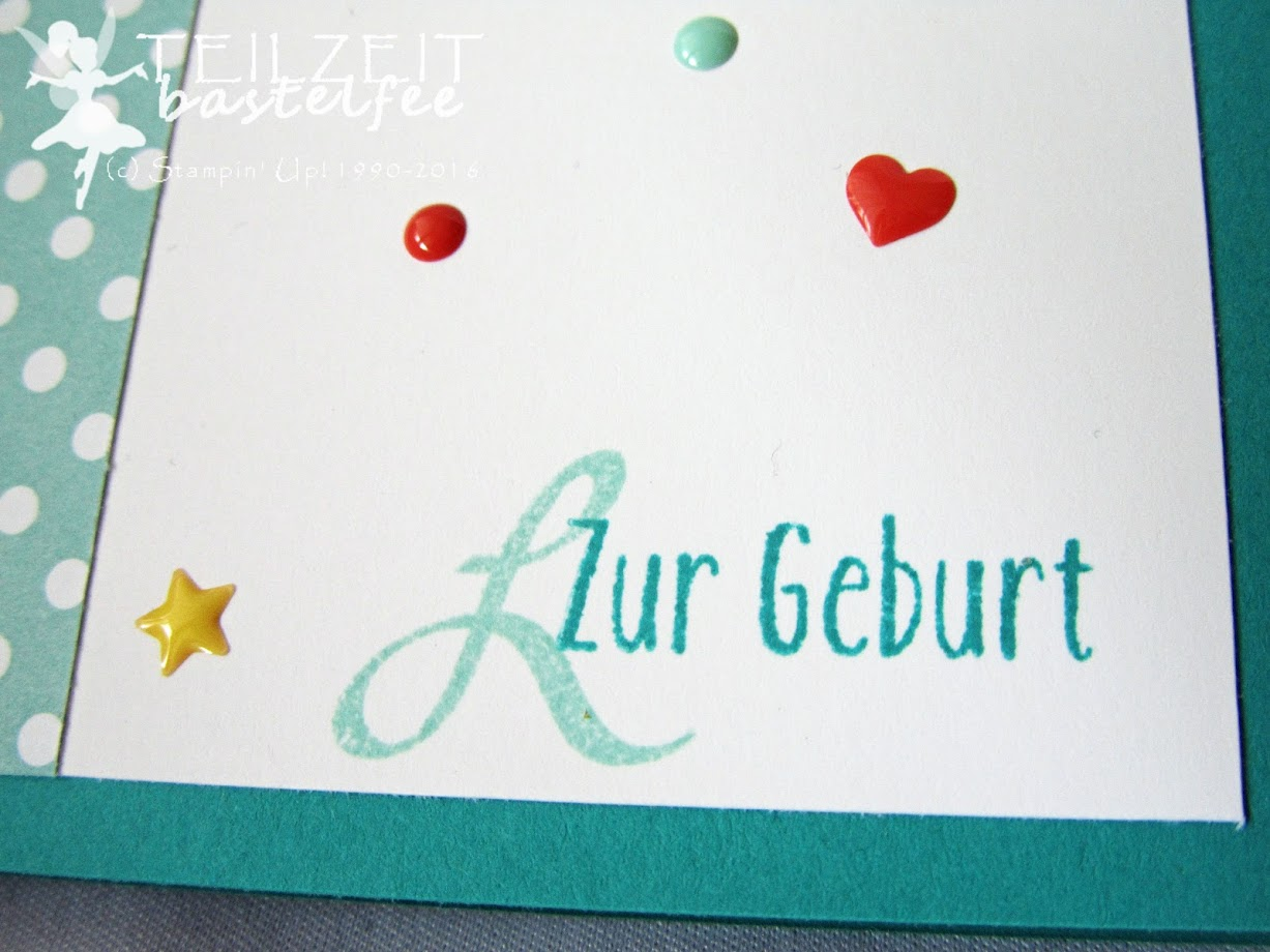 Stampin' Up! - In{k}spire_me #304, Baby, Geburt, Something for Baby, Framelits, unentbärliche Grüße, Baby Bear, Brushwork Alphabet, Enamel Dots