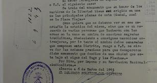 Documento de petición de la Falange para derruir Los Coloraos.