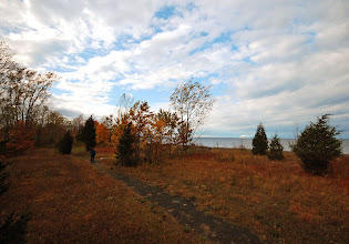 Photo: Autumn descends on the trees and grass of the dunes along the beach at Rainbow Shores on the eastern edge of Lake Ontario in Pulaski, NY.