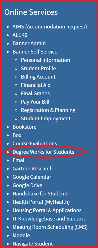 Screenshot of Online Services section, Inside SOU Homepage