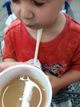 Photo: JP thought it was chocolate milk and instantly kicked up a stink for a taste.