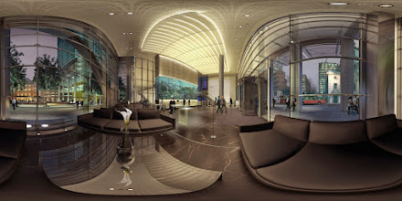 Photo: 3D/Architectural Visualisation:This is an internal 3d panoramic shot (Heron Tower) I have produced for a client