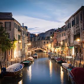 Water ways of Venice by Chris Pugh - City,  Street & Park  Neighborhoods ( lights, gondola, boats, dusk, italy, #venice )