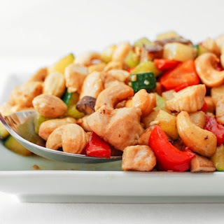 Cashew Chicken Ding With Jicama, Celery, and Red Bell Pepper.