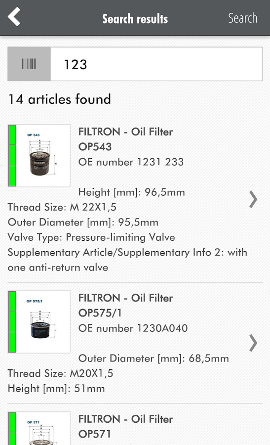 FILTRON Catalogue- screenshot