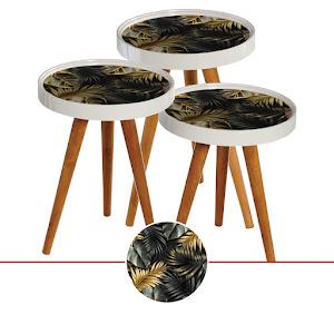 Set masute de cafea, design frunze, diametru 39 cm - RS163