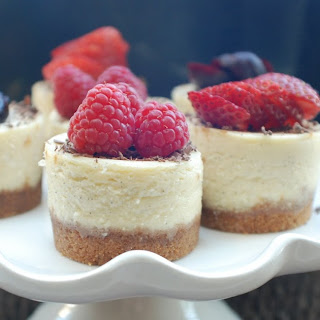 MINI VANILLA BEAN CHEESECAKES WITH FRESH BERRIES