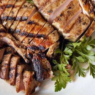 Grilled Pork Chops with Scallion-Herb Sauce.
