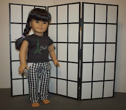 "Photo: Shoji screen:  http://www.doll-it-up.com/2013/08/23/make-a-screen-for-dolls-and-a-few-ideas-for-decorating-with-them/  I love Doll-It-Up's pictures and I couldn't wait to make one.  Thanks for the idea!  I used foam core (20""x8"" panels) and 1/4"" black satin ribbon.  I used black Scotch tape (found it in the craft store) for the hinges and around the outside edges."