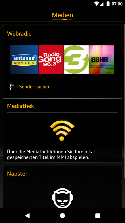 Audi MMI connect – Screenshot