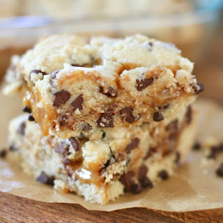 Chocolate Chip Caramel Butter Bars.