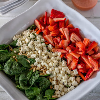 Red White and Green Salad with Citrus-Strawberry Vinaigrette.