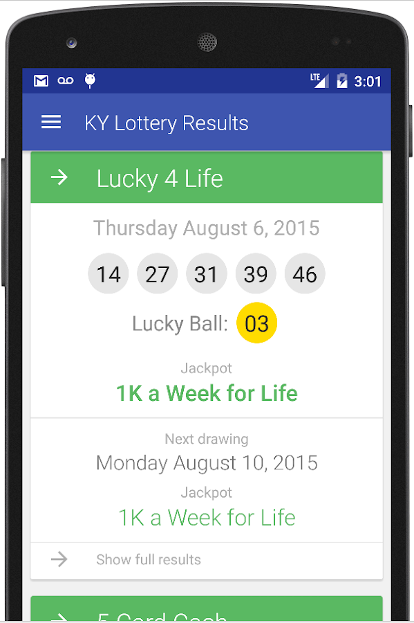 Ky lottery keno winning numbers