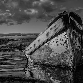 All But Forgotten by Goran Grudić - Black & White Objects & Still Life ( wreck, croatia, dinjiska, island, pag, clouds, ruin, water, boat, sea )