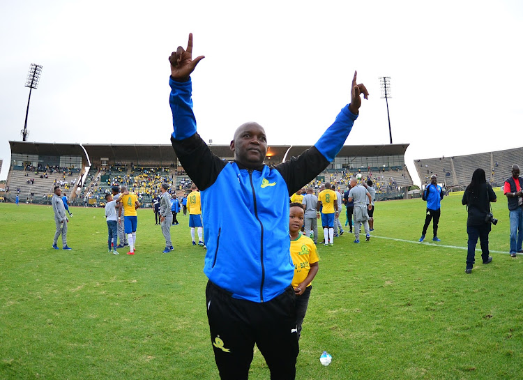 Mamelodi Sundowns' head coach Pitso Mosimane celebrate a victory during the Absa Premiership match against Ajax Cape Town at Lucas Moripe Stadium, Rustenburg on April 28 2018.