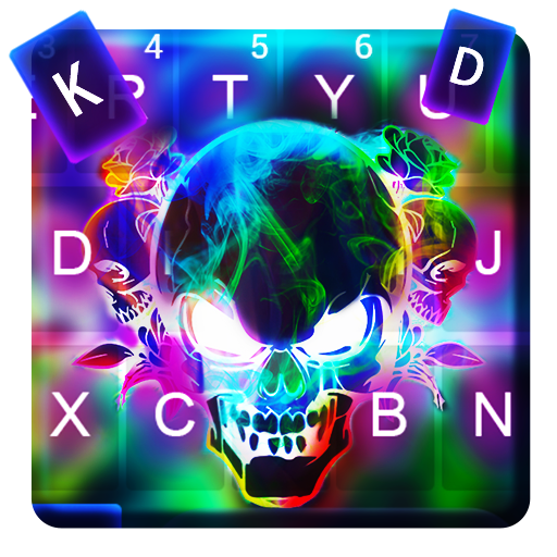 Smoke effect 3D Colorful Skull Keyboard Icon