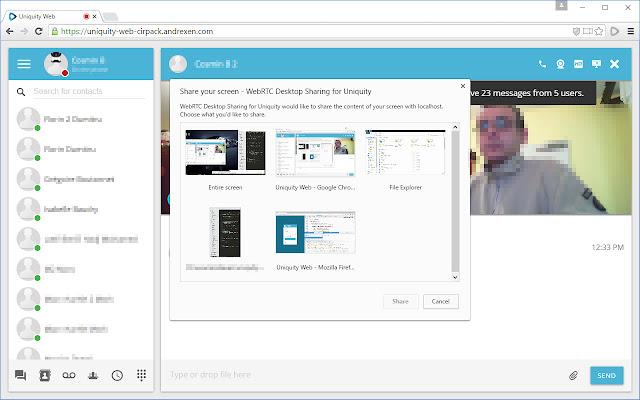 WebRTC Desktop Sharing for Uniquity
