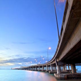 Penang's Bridge by Christopher Harriot - Buildings & Architecture Bridges & Suspended Structures ( penang, sea, bridge, sunrise )