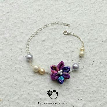 紫百合棉花珍珠手鏈 [香港手作手鐲]