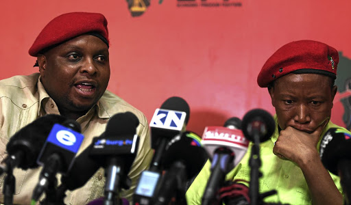 EFF deputy president Floyd Shivambu and president Julius Malema at a media briefing on allegations that the party and Shivambu benefited from the VBS bank looting.
