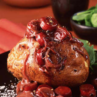 Baked Potatoes with Chorizo and Rioja Wine.
