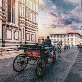 Firenze  by Goran Dzh - City,  Street & Park  Historic Districts ( sun lights, wide angle, town, clouds, florence, sun, tamron, horse, nikon, italia, firenze, italy, landscape )